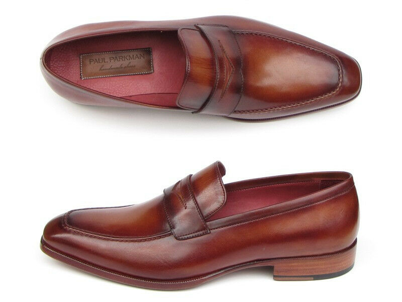 fae3709b32 Paul Parkman Men's Penny Loafer Tobacco & Bordeaux Hand-Painted shoes