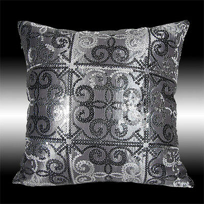 2X RARE SHINY GRAY SILVER BLACK SEQUINS THROW PILLOW CASES CUSHION COVERS 16""