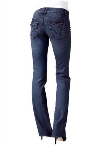 4Wards Jeans NEU Kurz-Gr.17 Röhre Stretch Used Damen Hose Dark Blau L30 34