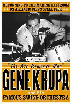 1940's Big Band Leader: Gene Krupa at Atlantic City Concert Poster 1941