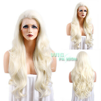 "26"" Long Platinum Blonde Curly Wavy Lace Front Synthetic Wig"