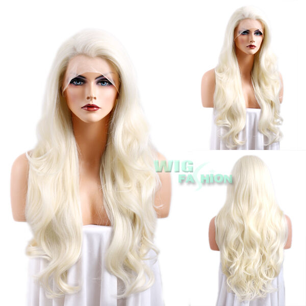 """26"""" Long Platinum Blonde Curly Wavy Lace Front Synthetic Wig"""