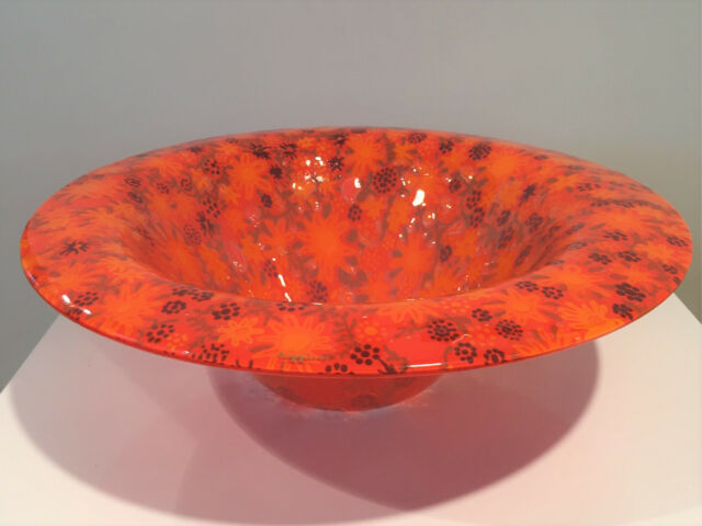 "Vintage Higgins Glass Large 13.75"" Country Gardens Bowl 1960's Gold Signature"