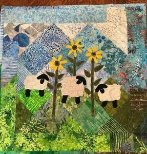 Handcrafted & Finished Mini Quilt -Batik Mini Art QuiltSheep/textile