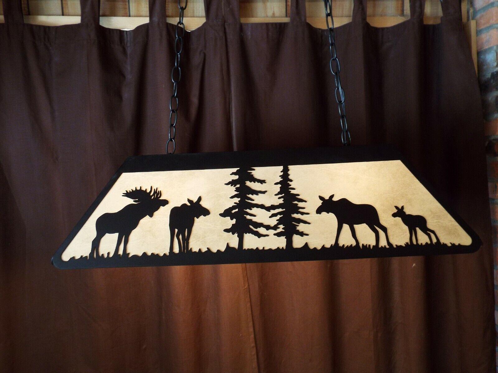 Laser cut Steel Bull & Cow Moose Pool Table Light rustic hunt cabin decor COPPER