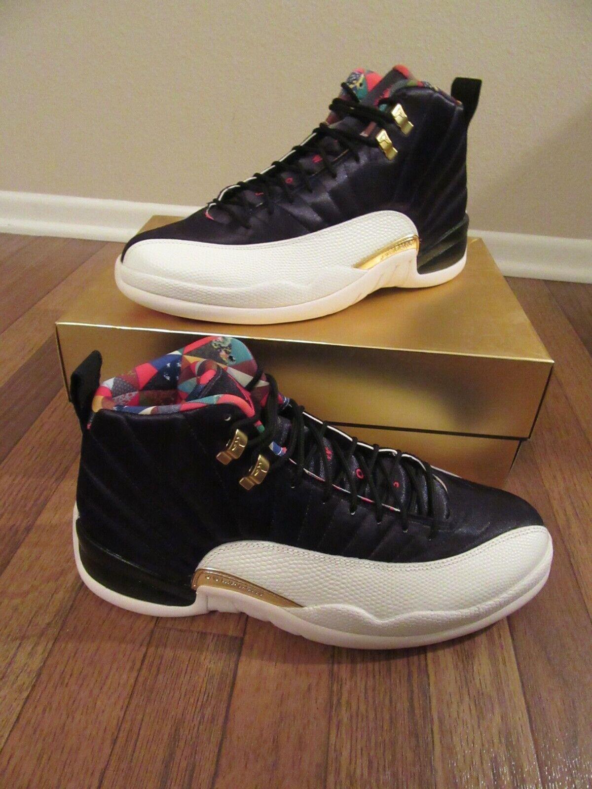 8a1eb864bb0 Nike Air Jordan 12 Retro CNY Size 12 Black True Red Sail Ci2977 006 ...