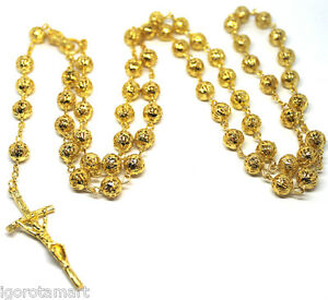 New jesus cross crucifix pendant 18k gold filled bead balls rosary image is loading new jesus cross crucifix pendant 18k gold filled aloadofball Gallery