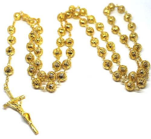 Jesus Cross Crucifix Pendant 18k Gold Plated Bead Balls Rosary Long Necklace