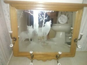 "Oak Hall Tree Mirror with 8 Hooks Porcelain Tips etched wolf scene w/shelf 24"""
