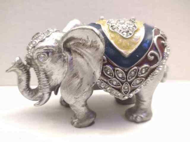 Feng Shui Set of 3 sliver Elephant Trunk Statues Wealth Figurine Home Decor