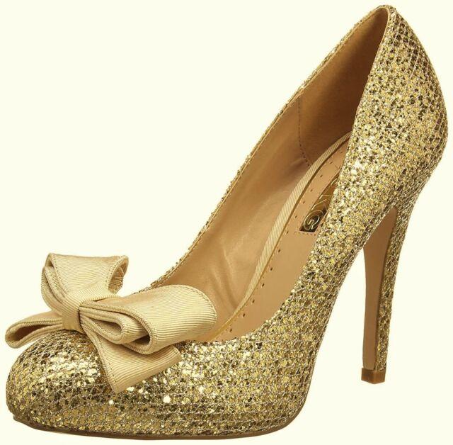 0dac9d2300f4 Kurt Geiger Ladies Shoes Size 6 Gold High Heels Glitter Court Bow Shoe Miss  KG