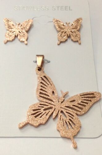 Set earrings and pendant Sparklen Butterfly Rose Gold, Stainless Steel