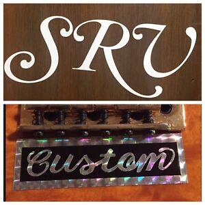 SRV-White-Script-And-Custom-Guitar-Sticker-Decal-Set-Vinyl-Stevie-Ray-Vaughan