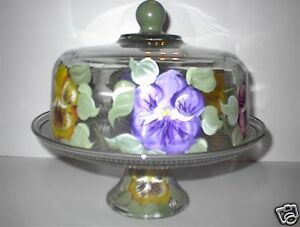 Image is loading HAND-PAINTED-FLORAL-PANSY-CAKE-PLATE-PUNCH-BOWL- & HAND PAINTED FLORAL PANSY CAKE PLATE/PUNCH BOWL/SERVER | eBay