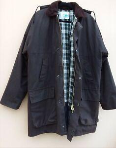 ELITE CLOTHING British Outerwear Waxed Cotton Coat Check Lining Detach Hood Sz M