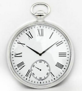 Details About Silver Round Wall Clock Pocket Watch Design