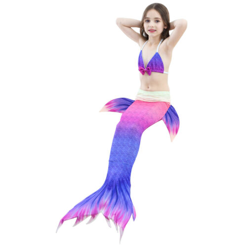 Swimmable Swimming Swimwear Costumes Kids Girl Fairy Mermaid Tail Bikini Sets