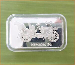 RARE-1-oz-999-Switzerland-Silver-Bar-034-MERCEDES-1901-ANTIQUE-CAR-COLLECTION-034-C77