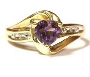 10k-yellow-gold-005ct-SI1-H-womens-diamond-amethyst-heart-ring-2-1g-estate