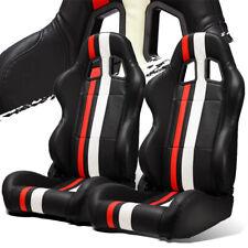 Black Pvc Leather Redwhite Strip Leftright Recaro Style Racing Seats Slider