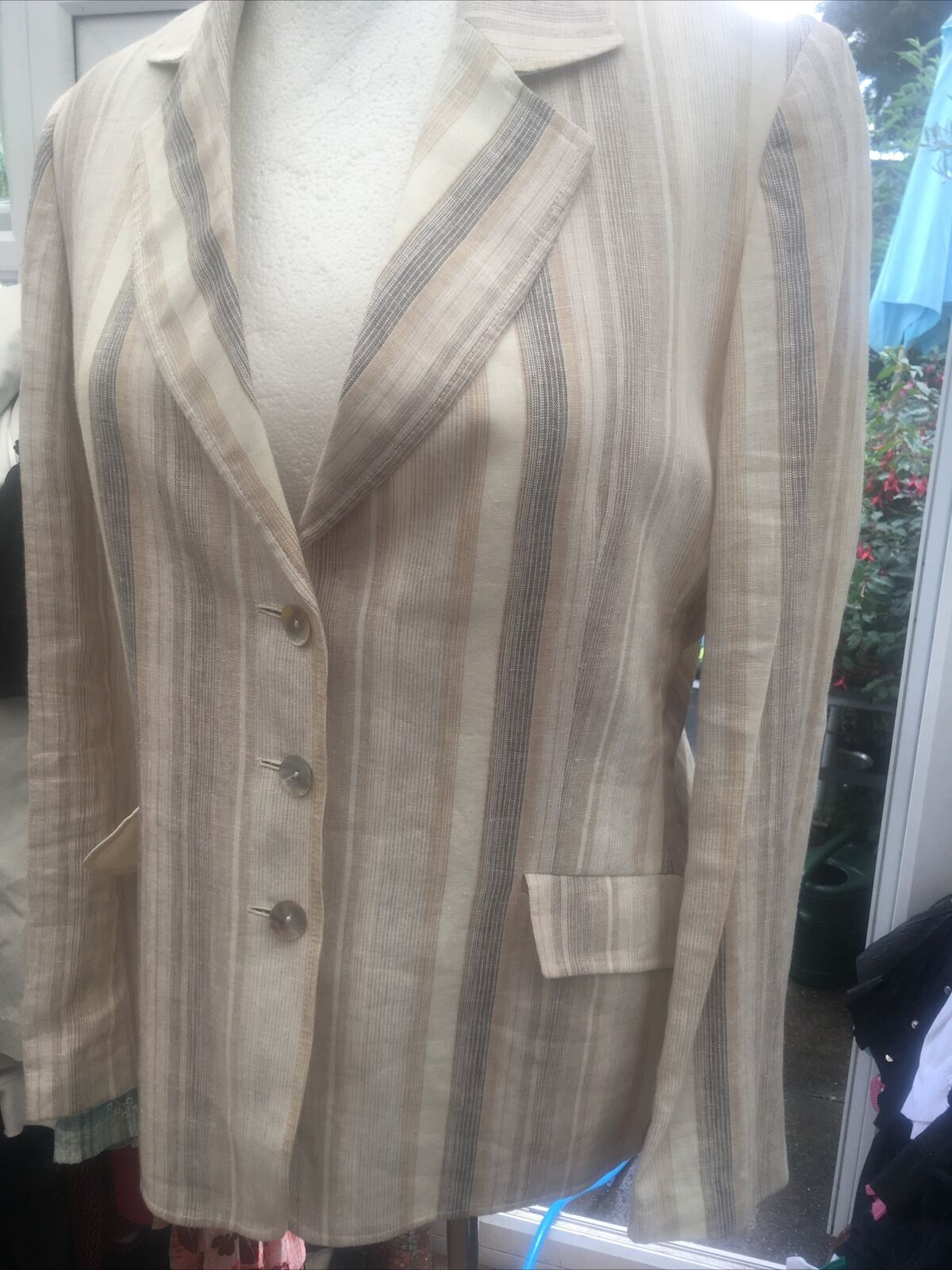 AUSTIN REED 100% linen tailored jacket superb Cream & Beige Stripes Uk 16 🍰