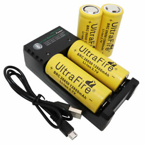 4X-26650-Battery-12800mAh-3-7V-Li-ion-Rechargeable-with-USB-2-Slots-Charger-New