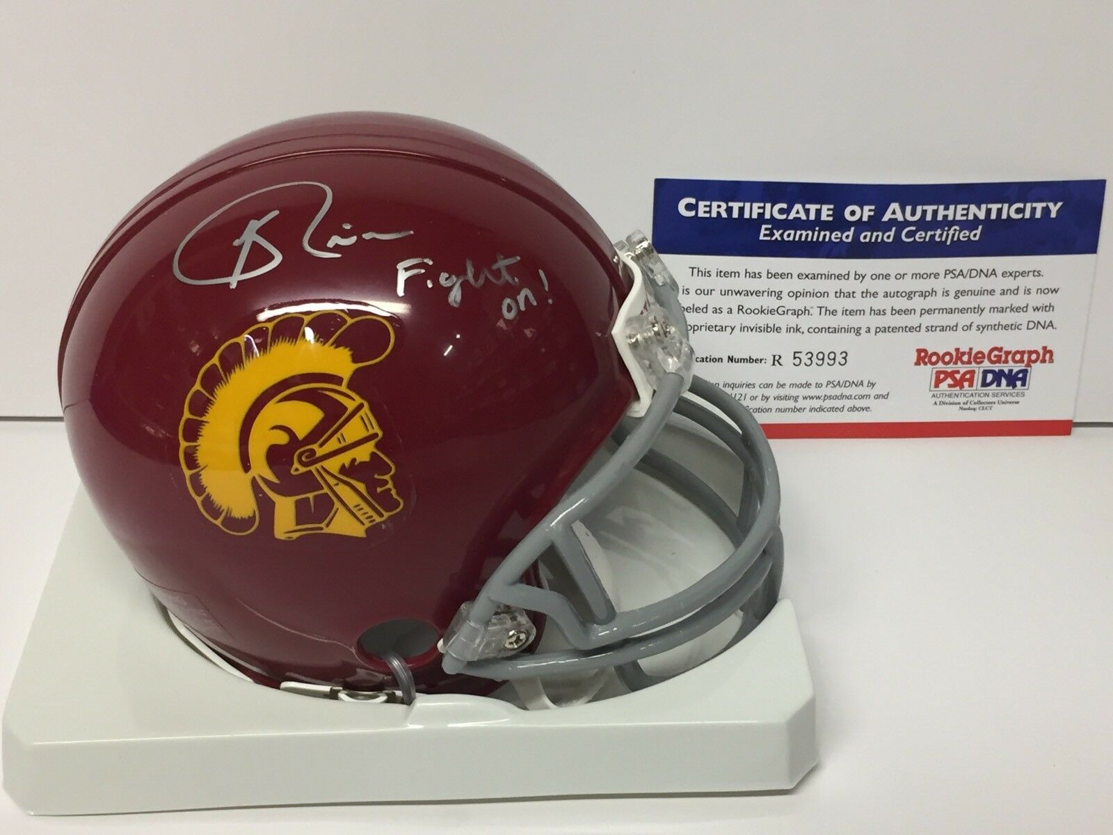 Keith Riers Signed USC Trojans Football Mini-Helmet