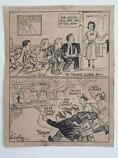 ORIGINAL SIGNED 1930'S PENCIL, PEN & INK COMIC ART BY CARTOONIST S.J. RAY