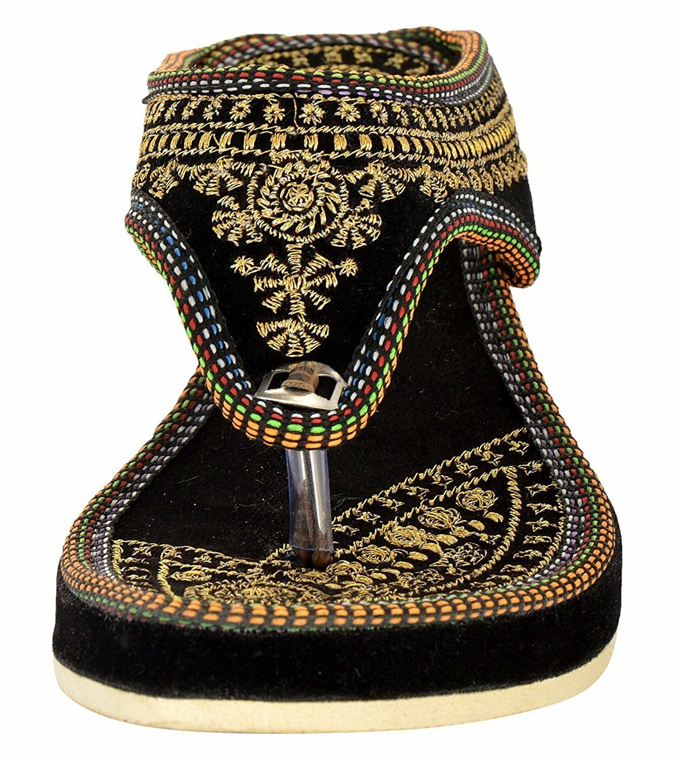 INDIAN BLACK WEDGES ETHNIC SLIPPER CASUAL PARTYWEAR SLIPPER ETHNIC SANDAL SHOES FOR WOMENS GIRL 96543f