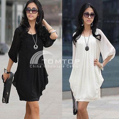 Fashion Women's Summer Short Sleeve Chiffon Mini Dress Ladies Casual Party Dress