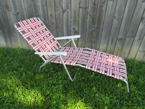 Enjoyable Details About Vintage Red White Webbed Folding Aluminum Patio Lawn Chair Lounge Chaise 4738C Pabps2019 Chair Design Images Pabps2019Com