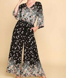 New-Bluheaven-By-Umgee-Jumpsuit-L-Large-Black-Floral-Wide-Leg-Pants-Kimono