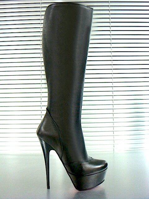 Grandes zapatos con descuento MORI ITALY PLATFORM HEELS KNEE HIGH BOOTS STIEFEL STIVALI LEATHER BLACK NERO 39