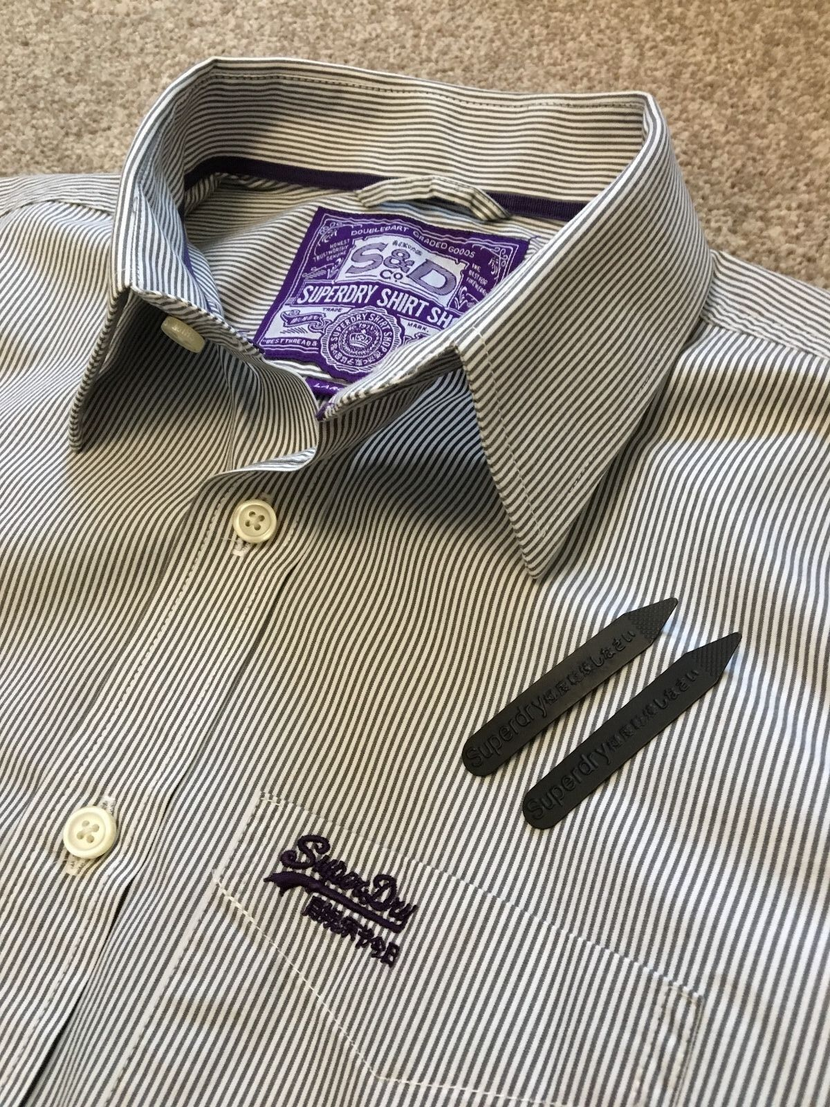 WORN ONCE SUPERDRY BENGAL STRIPE SHIRT WITH PURPLE DETAIL L LARGE COST