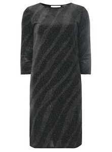 Ex Dorothy Perkins Tall Diagonal Glitter Velvet Shift Party Dress Size 12 14