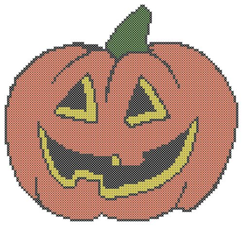 Free US Shipping Counted Cross Stitch Pattern Halloween Pumpkin