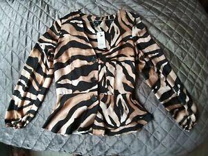 BRAND-NEW-River-Island-Animal-Print-Blouse-Shirt-Top-Size-8
