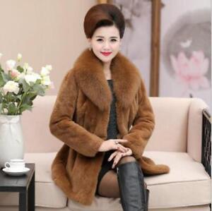 Furry Plus Luksus Lapel Coat Slim Parkas Jacket Sz Kvinders Hip Fur Længde Collar qEndtPf