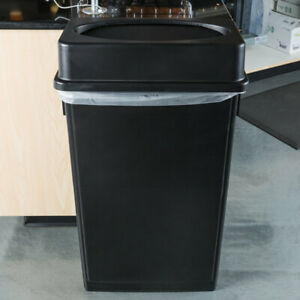 Details about 23 Gallon Heavy-Duty Black Plastic Slim Restaurant Kitchen  Trash Can with Lid