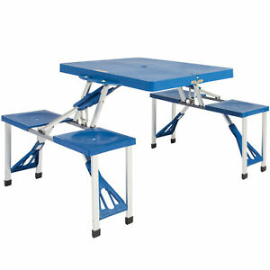 Best Choice Products Plastic Folding Picnic Table Blue
