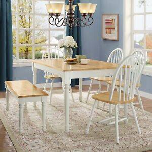 Details About Wooden Dinette Table With 4 Chairs Bench White Kitchen Dining  Furniture Set 6pc