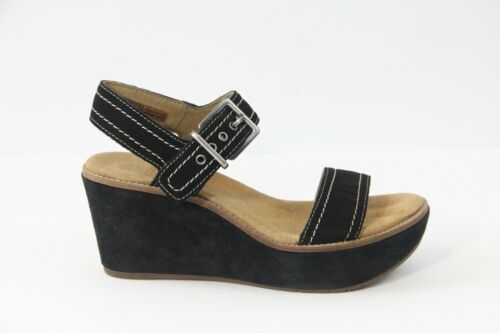 Clarks Platform Wedge Sandals sz 7.5 Black Suede S