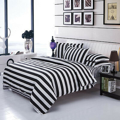 Black White Striped Quilt Cover Pillow Case Sheet King Queen Full
