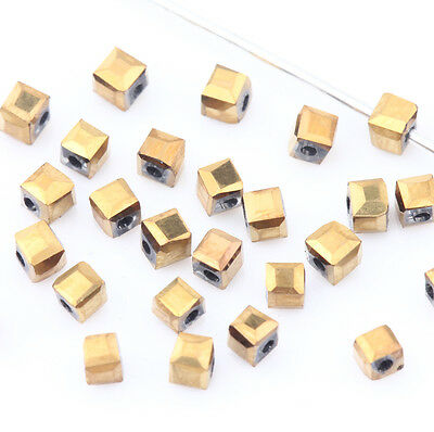 New Faceted Square Cube Cut Glass Crystal Charm Finding Loose Spacer Beads 2mm
