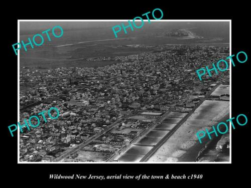 OLD 6 X 4 HISTORIC PHOTO OF WILDWOOD NEW JERSEY, AERIAL VIEW OF TOWN c1940 2