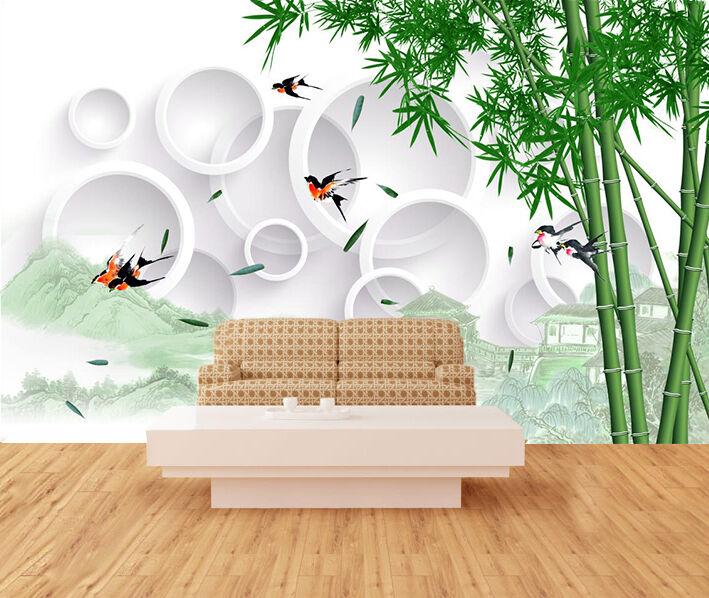 3D Green Bamboo Circle 649 Wall Paper Wall Print Decal Wall AJ WALLPAPER CA