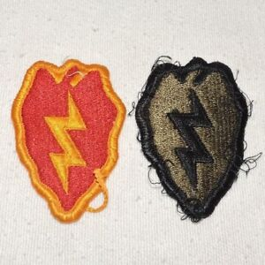 Vintage-WWII-U-S-Army-25th-Infantry-Patches-Colored-and-ACU