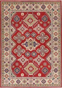 New-Red-Super-Kazak-Oriental-Area-Rug-Wool-Hand-Knotted-Geometric-Carpet-6-039-x9-039