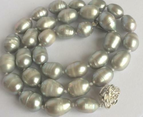 """New 10-11mm gray rice akoya freshwater cultured pearl necklace 18"""""""