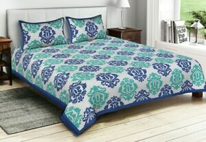 Green-amp-Blue-Floral-Print-Cotton-Double-Bed-Sheet-amp-Duvet-Cover-4Pillow-Cover-jg